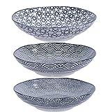 TOKYO design studio Nippon Black 3 Assiettes Noir-Blanc, Ø 21 cm, Hauteur env. 5,3 cm, Porcelaine Japonaise avec Motifs géométriques, Peut également être utilisé comme Assiette Creuse.