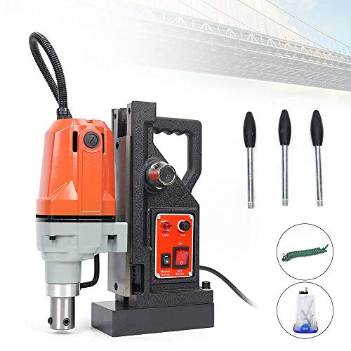 ZHFEISY MD40 Magnetic Drill Press - 1100W Electric Magnetic Drill Press w/40mm Boring &SDT Annular Cutters 2700 Lbs 550 RPM Portable Magnetic Force Magnetic Drilling Machine Maximum Boring Depth: 50mm