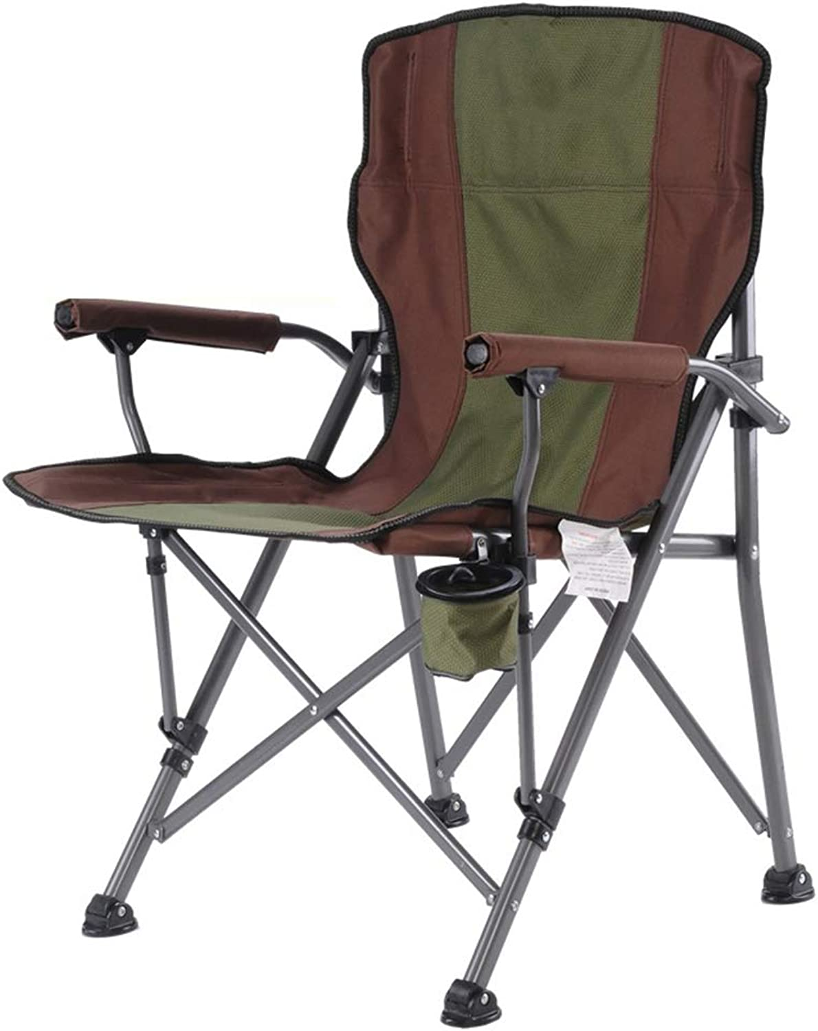 ZENGAI Kestrel Heavy Duty Padded Camping Chair Steel Folding Festival Cup Holder Bag   (color   Green, Size   64x65x94cm)