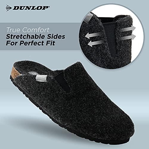 Dunlop Zapatillas de hombre, zapatillas de fieltro suela de goma antideslizante, zapatos de interior al aire libre, color Negro, talla 42 EU