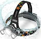 Headlamp. USB Rechargeable LED Head Lamp. Ultra Bright CREE 20000Lumen Head Flashlight IPX4 Waterproof Headlight with Light. HeadLamps,Adults, Outdoors & Hard Hat (Charging equipment and Batteries)
