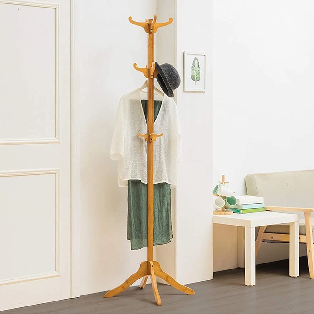 YAYONG Tucson Mall Wooden Coat Rack Kansas City Mall Stand 12 Easy Hooks NO To Super Assembly