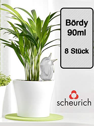 Scheurich Wasserspender Bördy S   8 x Klar   90ml Füllmenge   Bewässerungskugeln klein mit Ton Fuß   Wasserspender für Zimmerpflanzen und Blumen Terrakotta Stiel