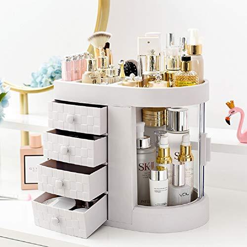 UFLIZOGH make-up organisator grote capaciteit afneembare acryl sieraden cosmetische organisator met 4 lades voor dressoir slaapkamer badkamer (wit, 30 x 28 x 20cm)