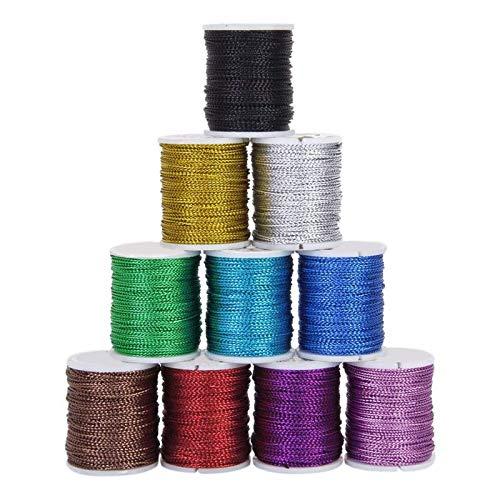RENSHENKTO Cordón de cuentas de hilo de nailon para hacer joyas, collar y pulsera, 10 unidades