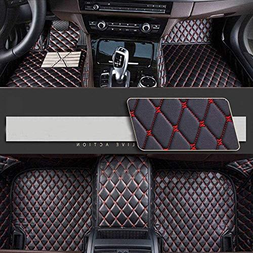 Luolong Auto-deurmat, personaliseerbaar, volledige afdekking voor vloerbedekking voor en achter, antislip, leer waterdicht 2015-2019 VW Golf Variant 2008-2011 Kaffeefarbe