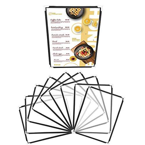 Belle Vous Funda para Cartas Restaurantes Pliegue Doble A4 (Pack de 10) Cartas para Restaurante Soporte para Menú Estilo Americano con Protectores de Esquina - para Bares, Cafés, Alimentos y Bebidas