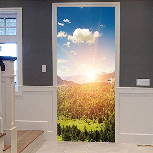 YQLKD Door Sticker Wallpaper Imagen De Paisaje De Bosque Virgen Autoadhesivo Papel Pintado Impermeable Pegatinas De Puerta Decoración del Hogar Mural De PVC