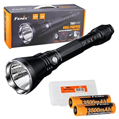 Fenix TK47UE Ultimate Edition 3200 Lumen LED Tactical Flashlight w/ 2X High Capacity 3500mAh Batteries and LumenTac Battery Organizer