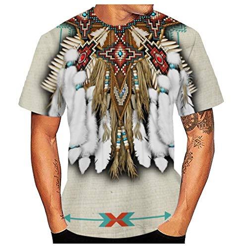 Xmiral Maglietta Uomo T-Shirt Divertente con Stampa Geometrica Digitale in Stile Indiano Etnico 3D Casual (3XL,2Bianca)