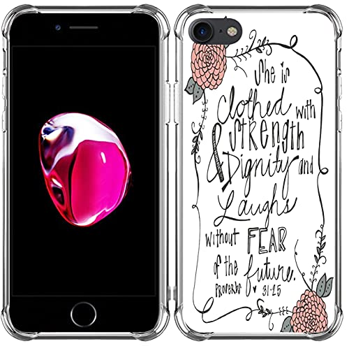 Case for iPhone SE/7/8 Christian Songs - Topgraph [Exact Slim Fit Clear with Design Full Coverage] Bumper Compatible for iPhone 8/7/SE 2(SE 2020) [Bible Verse for Women]