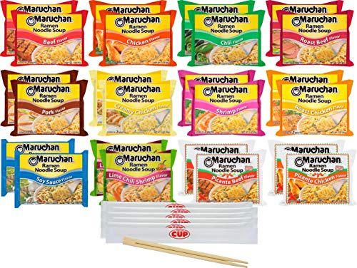 Maruchan Ramen Noodle Soup, 24 Count 12 Flavor Variety Pack with By The Cup Chopsticks