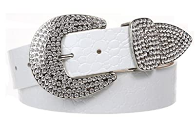 Womens Snap On Western Crocodile Print Rhinestone Leather Belt, White | L/XL - 40