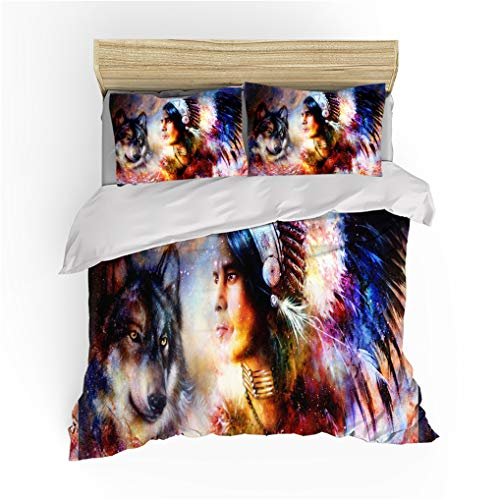 HNHDDZ Duvet Cover Set for Kids Boys Girls 3D Wolf Print Duvet Cover Pillowcase, Abstract Indian Style Polyester Bedding Set With Zipper (Indian, Double 200x200 cm)