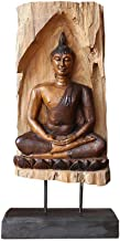 Home Accessories Thai Buddha Statue, Sitting Buddha Shakyamuni Wood Carving Handicraft Large Desktop Hand Carved Buddha St...