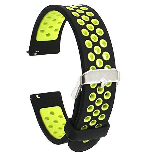 Elespoto 18mm de Pulsera de Reloj Silicona Liberación Reemplazo Correa para Huawei Watch Classic/Huawei Fit/Nokia Health Watch/Withings Activité and All 18MM Watch (Black Yellow)