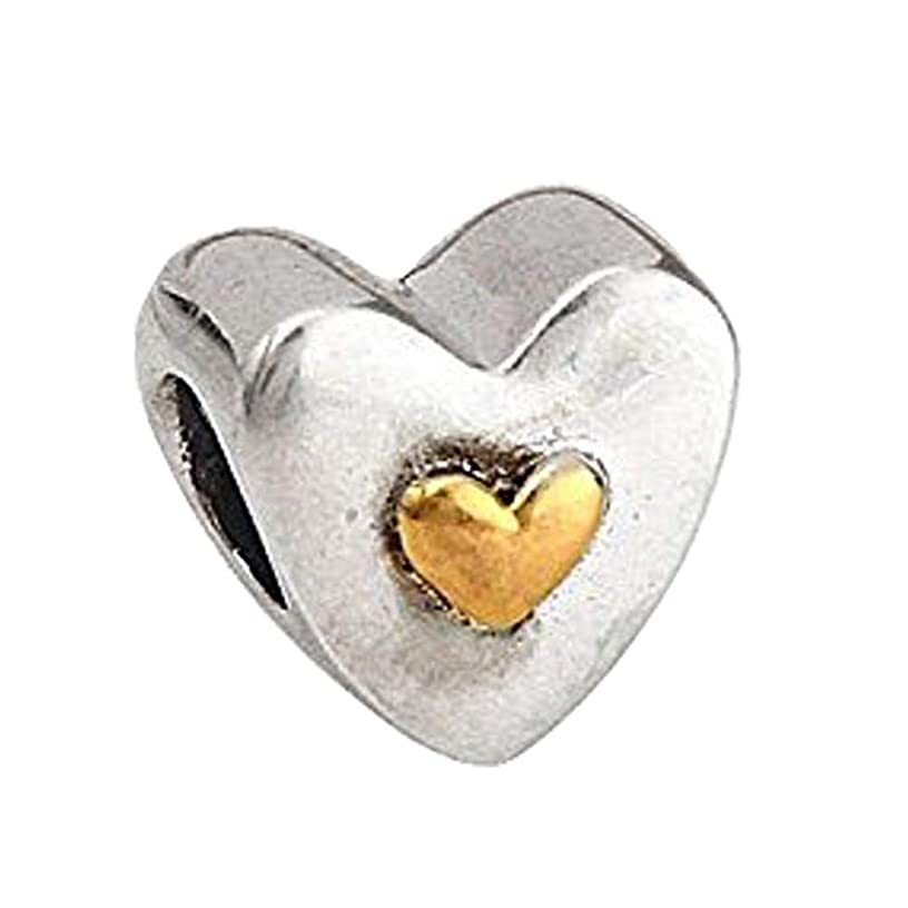 Happy Anniversary Love Heart Charm - 925 Sterling Silver - Fit DIY Charms Bracelets