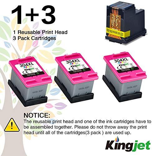 Kingjet 304XL (3 Color) Remanufacturado para HP 304 304XL Cartuchos de Tinta Compatible con HP Envy 5010 5020 5030 5032 Deskjet 2620 2622 2630 2632 2633 2634 3720 3730 3733 3735 3750 3760 3762 3764