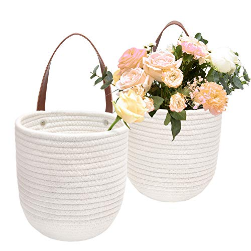 JS HOME 2 Pack Cotton Hanging Baskets with Leather Handle Decorative Woven Basket for Plants and Flowers Small Woven Fern Wall Hanging Basket Hanging Baskets for Organizing White 8 x 7