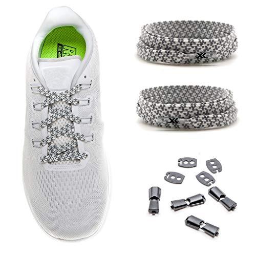 MAXX laces elastische Schnürsenkel flach für alle Schuhe - Schnellverschluss Schnürbänder ohne binden für Damen, Herren, Kinder - Sneaker, Sportschuh, Arbeitsschuh, Trekkingschuh [Reflektive Weiss]