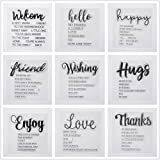 Welcome to Joyful Home 9pcs/Set Welcome Hello Hugs Frineds Sentiments Rubber Clear Stamp for Card Making Decoration and Scrapbooking