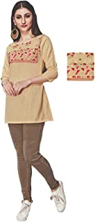 Khwahish - Cream Color Cotton Top/Tunic/Short Kurti with Bracelet Sleeves (3/4th sleeves)