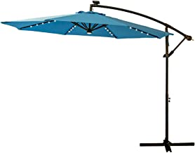 FLAME&SHADE 10' LED Outdoor Cantilever Hanging Offset Umbrella with Solar Lights for Large Patio Table Outside Balcony or Pool, Aqua Blue