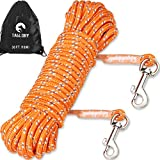 Taglory Dog Tie Out, Long Leash for Dog Training, 30 FT Nylon Rope with Reflective Stitching for Small Dogs, Great for Swimming, Walking, Camping, Orange