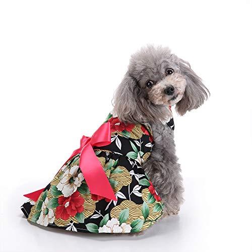 Modow bloemenpatroon huisdier hond jurk vest zomerjurk rok met roze strik, schattige puppy kleding voor kleine en middelgrote honden en katten.