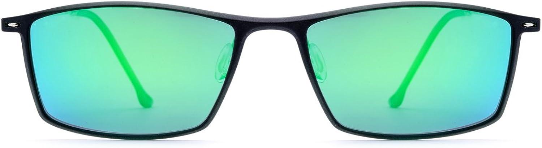CIGONG Men's and Women's Polarized Sunglasses Square Fishing Rack Sunglasses Sunglasses (color   Green Frame Green Lens)