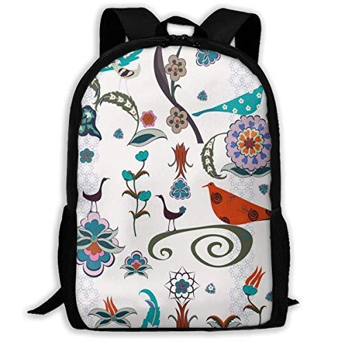 Carry Everyday Bookbag,Laptop Computer Bag,Travel Backpacks,Adult Rucksack,Floral Flowers Swirls Ivy Buds Birds Leaves Ethnic Bohem Inspired Artistic Image Women & Men Durable Casual Daypack for SCH