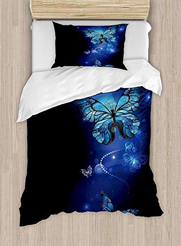 Ensemble housse de couette bleu foncé de taille jumelle, Papillons magiques fantastiques, monarque artistique Inspiration Morpho, ensemble de literie décoratif avec 2 couvre-oreillers, bleu cobalt, no