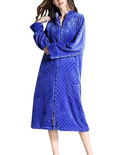 Mujer Albornoz con Bolsillo y Cremallera Manga Larga Bata Pijama Ropa Super Suave Robe Zafiro 2XL
