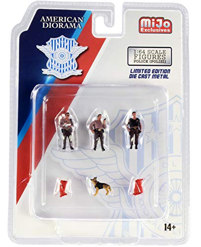 Police 8 Piece Diecast Set (3 Figurines, 1 Dog and 4 Accessories) for 1/64 Scale Models by American Diorama 76460