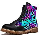 NewLL Botas de combate con cordones para mujer con diseño de palmas exóticas con estampado de ocho ojos; botas de invierno de tacón bajo, color, talla 39 EU
