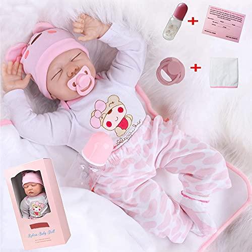 antboat 22 Pulgadas 55cm Muñecas Reborn Bebé Niña Vinilo Silicona Suave Dormido Niña Realista Hecho a Mano Recién Nacido Reborn Niña Regalos de Cumpleanos Reborn Toddler