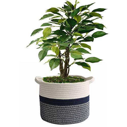 AILI Cesta tejida de cuerda de algodón para plantas de 25,4 cm, cesta organizadora de almacenamiento, decoración rústica del hogar, rayas blancas y negras de 28 x 28 cm.