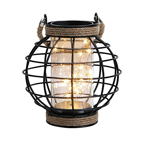 JHY DESIGN Metal Cage LED Lantern Battery Powered,7.3' Tall Cordless Accent Light with 20pcs Fairy...