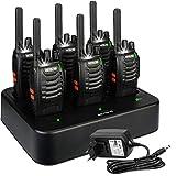 Retevis H777 Plus Walkie Talkie Recargable, Walki Talky con Cargador de Seis Vías, PMR446 16 Canales Licencia Libre, Linterna LED, VOX, Radio Bidireccional de Mano para Transportation Logistics (6 Piezas)
