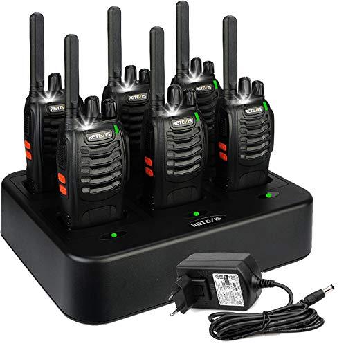 Retevis H777 Plus Walkie Talkie Recargable, Walki Talky con Cargador de Seis Vías, PMR446 16 Canales Licencia Libre, Linterna LED, VOX, Radio Bidireccional de Mano para Transportación (6 Piezas)