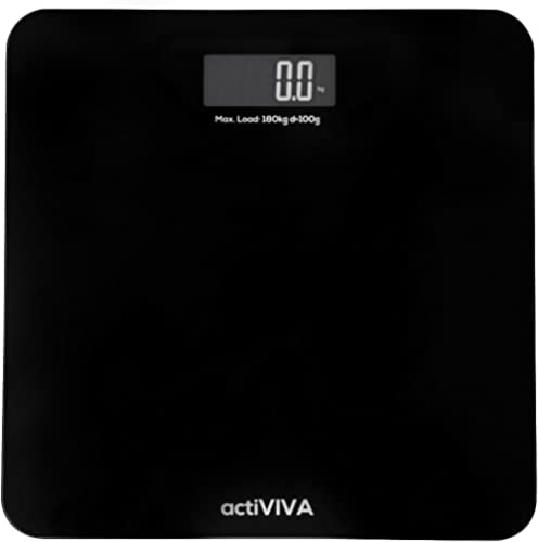 mbeat A ActiVIVA Precision Tempered Glass Extra-High Capacity Digital Bathroom Talking Body Weight Scale 180kg, Black...