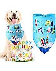 Pañuelo de Cumpleaños de Mascotas Babero Bandana de Cumpleaños de Perrito Pañuelo Triángulo Lindo de Cumpleaños de Perro para Uso Diario en Fiesta de Cumpleaños, Azul