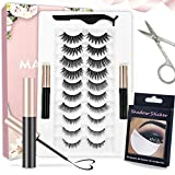 Magnetic Eyelash with Eyeliner kit, 2 Magnetic eyeliners and 10 Pairs of Magnetic Eyelashes, Natural Appearance and Reusable, no Glue Neede