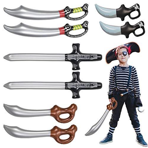 Espada Pirata Inflable JOOPOM 8 piezas Espadas Piratas Cuchillos Machete para Niños Niñas Suministros de Fiesta Temática Pirata Accesorios de Escenario Verano Piscina Cosplay Juguete Cabina de Fotos