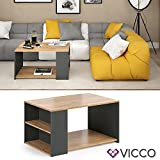 Vicco Coffee Table Dario Living Room Table Anthracite Oak 90x60 Couch Table Side Table - 3