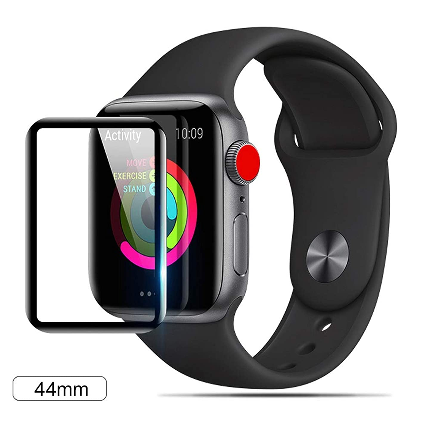 YCFlying Apple Watch Series 4 (44mm) Screen Protector, 3D Curved[2019 Upgrade Version] HD Tempered Glass Screen Film 9H Hardness Anti-Scratch Protective Film, for Apple Watch Series 4 (44mm) Black