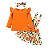 Dimoybabe Toddler Girl Clothes Baby Skirt 3 Pcs Long Sleeve Ruffle T-Shirt Suspender Dress Headband Outfits Set Solid Orange Pumpkin 3T / 4T