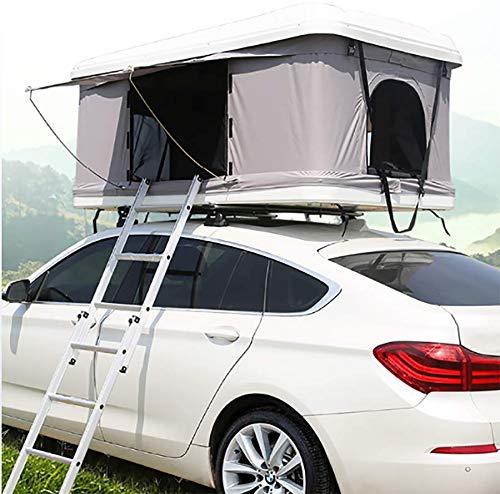 Automotive Rooftop Tent Equipo para Acampar de toldos para Carpa automotriz de 2-3 Adultos Toldos para Carpa en la azotea, Concha Blanca + Carpa Gris