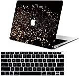 AOGGY Macbook Air 13 inch Case 2018 2019 Release A1932 Glitter Fluorescent Color Plastic Hard Case with Keyboard Cover Compatible New MacBook Air 13 inch with Touch ID - Gold