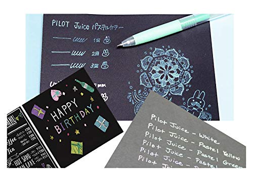Pilot Juice Gel Ink BallpointPen, 0.5mm Extra Fine, Pastel & Metalic, 12 Colors, Etranger Di Costarica B5 Double Ring Notebook Black Paper Plain 100 Sheets, with Sticky Notes Value Set Photo #7